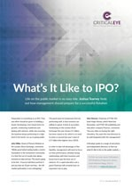 What's it Like to IPO?